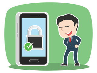 Asian businessman with secured smartphone– stock illustration