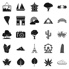 Pic icons set, simple style