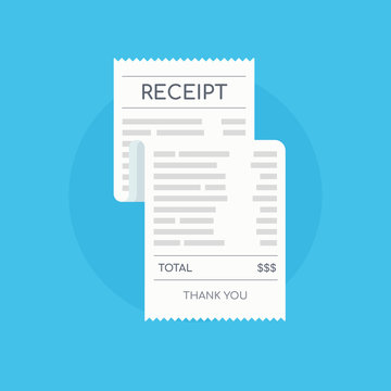 Icon shopping receipt. Invoice sign. Paying bills.