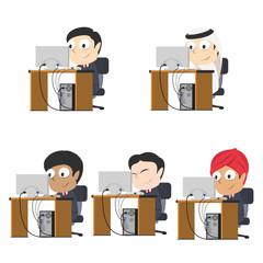 Businessman working different race set– stock illustration