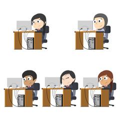 Businesswoman working different race set– stock illustration