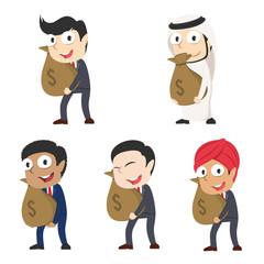 Businessman holding money sack different race set– stock illustration