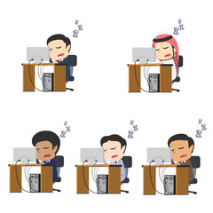 Businessman fall asleep while working different race set– stock illustration