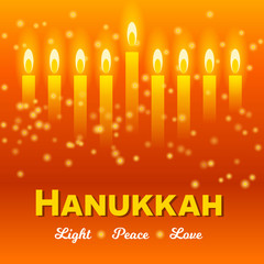 Happy Hanukkah greeting card, lights on dark. Hanukkah party poster template or social media banner