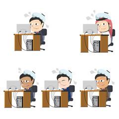 Businessman got a fever at work different race set– stock illustration