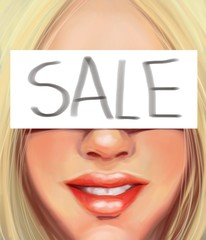 Young blonde woman with an inscription on sale in the style of oil painting