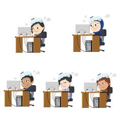 Businesswoman got a fever at work different race set– stock illustration