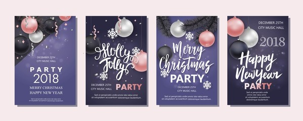 New Year and Christmas brochure, flyer, invitation