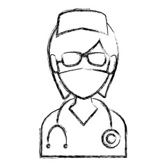 Nurse avatar profile icon vector illustration graphic design