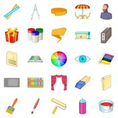Artist icons set, cartoon style