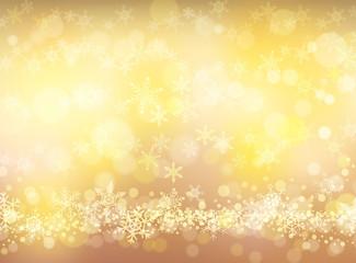 クリスマスゴールドの輝き-雪の結晶背景