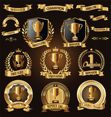 Trophy and awards laurel wreath golden collection