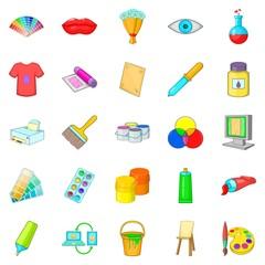 Artisan icons set, cartoon style