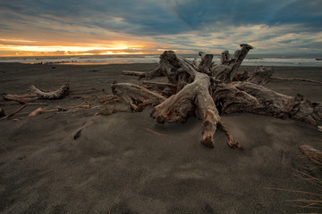 beautiful abandoned sea beach and  sun set sky at hokitika west coast southland of new zealand