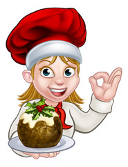 Woman Chef in Christmas Hat Holding Pudding
