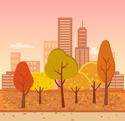 Autumn Park Represented on Vector Illustration