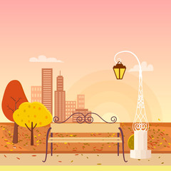 Autumn City Park Panorama Vector Illustration