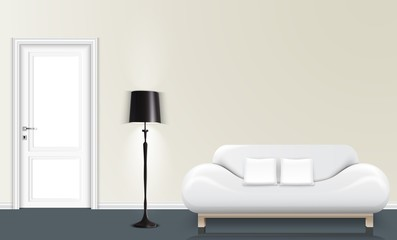 White wall background with a floor lamp and white sofa