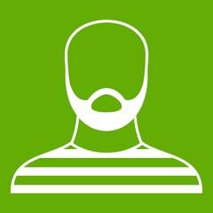 Bearded man in prison garb icon green