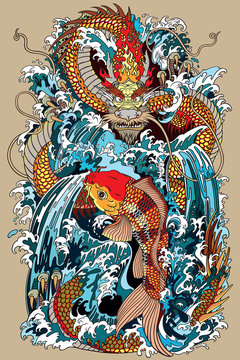 golden dragon and koi carp fish which is trying to reach the top of the waterfall. Tattoo style vector illustration according to ancient Chinese and Japanese myth