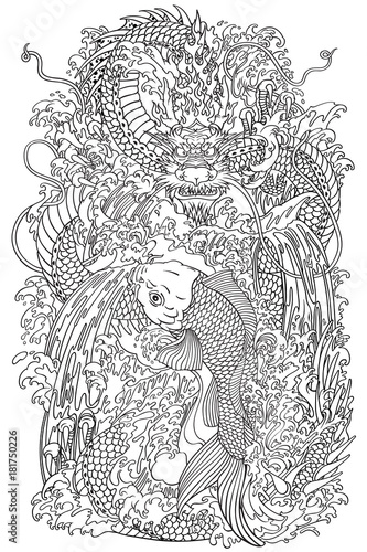 Chinese Dragon And Koi Carp Fish Which Is Trying To Reach The Top Of Waterfall