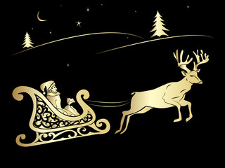 Santa Claus and deer flying