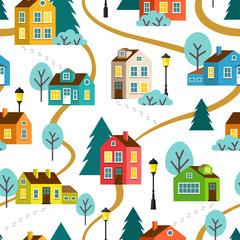 Landscape of town or village, seamless pattern. Vector children flat cartoon illustration.