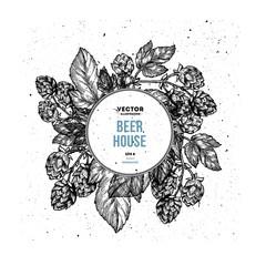 Beer hop floral composition . Engraved style illustration. Vintage design template.