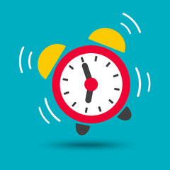 Wake up icon vector of alarm clock in bright color isolated