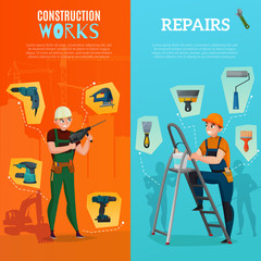 Construction Workers Vertical Banners