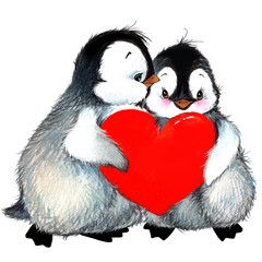 Valentine day. cute penguin and red heart . watercolor drawing