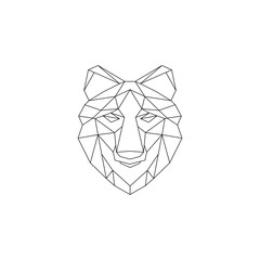 Polygonal geometric wolf, elephant, bear, lion. Abstract linear isolated animals Vector illustration
