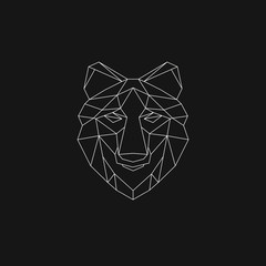 Polygonal geometric wolf, elephant, bear, lion. Abstract linear isolated animals Vector illustration
