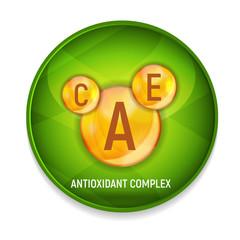 Vitamin A, C, E  Icon. Antioxidant Complex. Vector Illustration