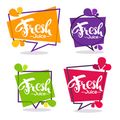 vector collection of bright geometric frames  stickers, emblems and banners for fruit and berry fresh juice