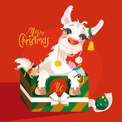Adorable, cute, cartoon Christmas llama character. Llama in the gift box with Christmas toys (balls) and confetti with bell on the ear. Christmas greeting card