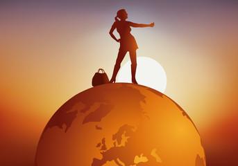 voyage - voyager - globe - faire du stop - tourisme - terre - voyageur - touriste - tour du monde