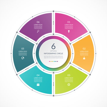Infographic circle in thin line flat style. Business presentation template with 6 options, parts, steps. Can be used for cycle diagram, graph, round chart.
