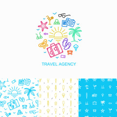 Vector collection of logo design template and seamless patterns - simple symbols of summer vacation made in linear style.