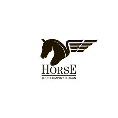 monochrome emblem of horse head on white background