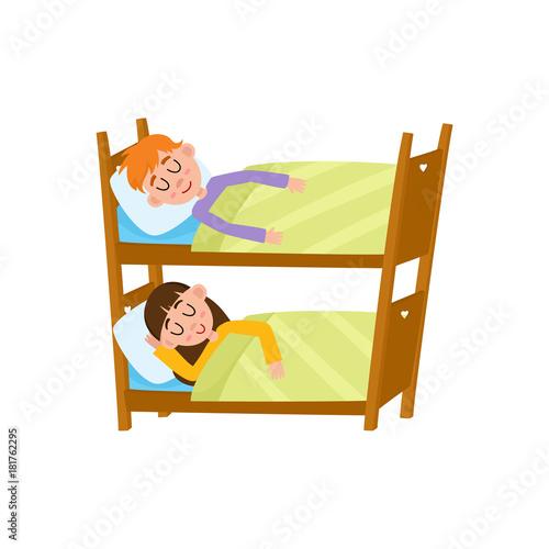 cartoon bunk bed. Vector Flat Cartoon Children At Summer Camp Concept. Girl And Boy Kid Having Rest Sleeping Bunk Bed