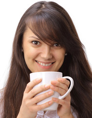 portrait of beautiful young woman holding a Cup of tea