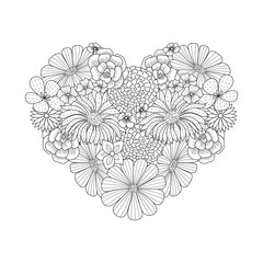 Floral Heart Shape Doodle Style Coloring Book Page Ornate Black Line Cute Valentine Day