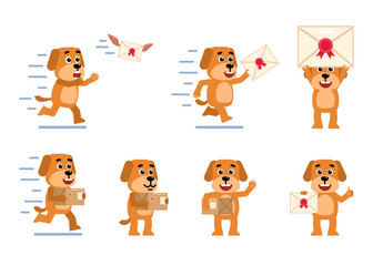 Set of funny yellow dog characters posing with letter and parcel box in different situations. Cheerful dog holding letter, package, running and showing other actions. Flat style vector illustration