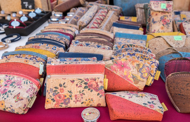 cork texture wallets for sale at street local market