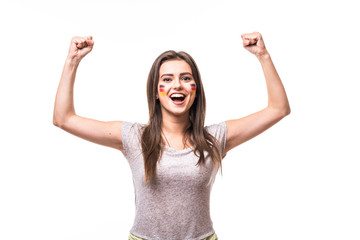 Germany win. Victory, happy and goal scream emotions of Germany woman football fan in game support of Germany national team on white background. Football fans concept.