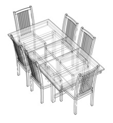 Dinner table with chairs. Vector rendering of 3d