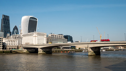The River Thames, London Bridge and The City of London