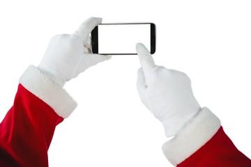 Hands of Santa Claus using mobile phone