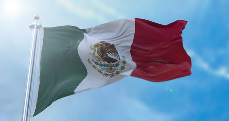 Amazing waving Mexican flag.